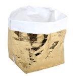 sacchetto living esterno oro, interno bianco