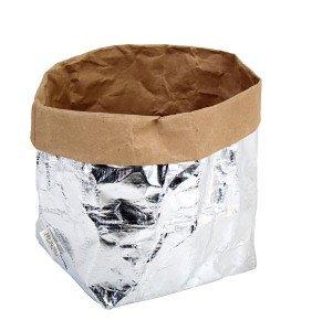 sacchetto living esterno argento interno avana