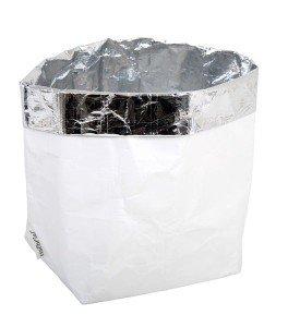 sacchetto living esterno bianco interno argento
